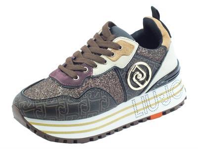 Articolo LIU JO BF1055 Maxi Wonder Brown Sneakers per Donna in camoscio e tessuto glitterato zeppa alta