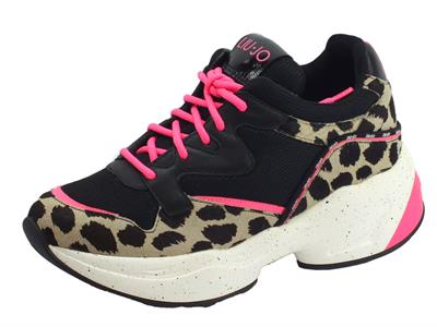 Articolo LIU JO Jog 09 Sneakers Pony Hair Calf Leather Mesh Sneakers donna in tessuto nero e leopardato