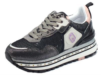 Articolo LIU JO Maxy Wonder Black Sneakers per Donna con zeppa in pelle e nabuk brillantinato nero argento