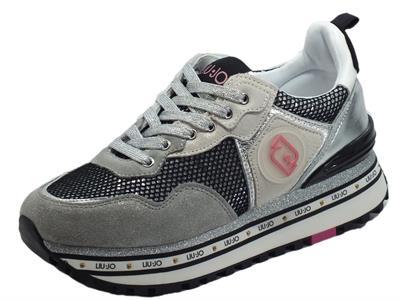Articolo LIU JO Maxy Wonder Grey Sneakers per Donna con zeppa in pelle e nabuk brillantinato argento