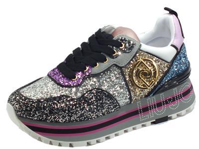 Articolo LIU JO Maxy Wonder Maxy Wonder Glitter Multicolore Sneakers per Donna con zeppa glitter nabuk pelle