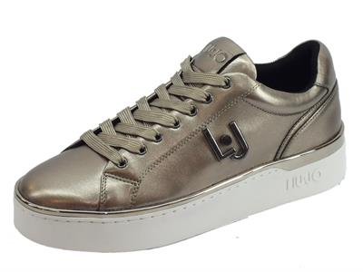 LIU JO Silvia 01 Sneakers Metallic Pewter Sneakers donna in pelle metallizzata peltro zeppa