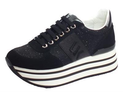 Articolo Lumberjack CONNIE SW58111-001 X92 CB001 Black Sneakers Donna nabuk tessuto nero zeppa alta