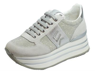 Lumberjack CONNIE SW58111-0081 X92 White Silver Sneakers Donna nabuk grigio tessuto argentato