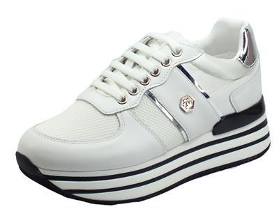 Articolo Lumberjack HILDA SWA0312 White Silver Sneakers per Donna in pelle e tessuto con zeppa interna