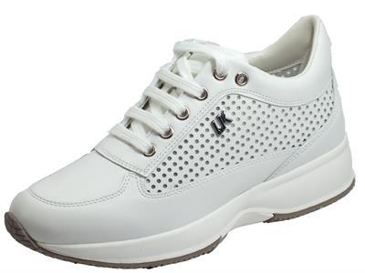 Articolo Lumberjack RAUL SW01305-008 X85 CA001 White Sneakers Donna in pelle traforata zeppa alta