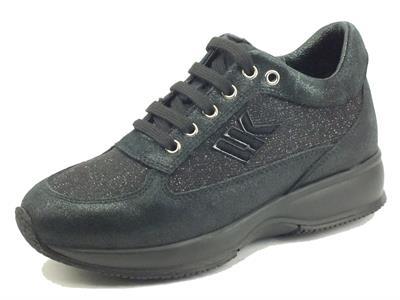 Articolo Lumberjack RAUL SW01305 Black Sneakers Donna in nabuk e tessuto cangiante nero zeppa interna