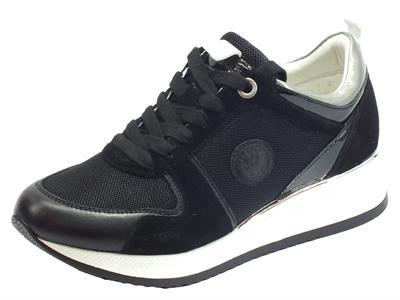 Lumberjack SW84312-001 X25 CB001 Kandy Black Sneakers per Donna in camoscio e tessuto nero
