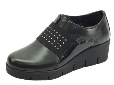 Melluso 018814 Nero Sneakers con zeppa per Donna in pelle e vernice