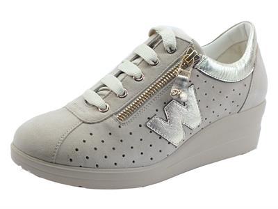 Articolo Melluso R20132A Corda Sneakers Donna in nabuk con lacci e lampo con zeppa interna