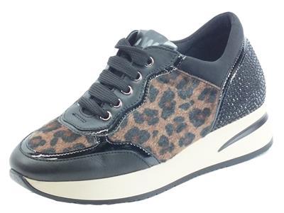 Articolo Melluso R25047A Carla Camel Sneakers per Donna in pelle e cavallina nero marrone