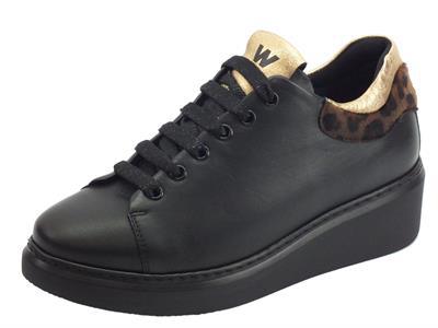 Articolo Melluso R25422 Aurora Nero Sneakers con zeppa per Donna in pelle con lacci