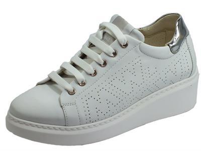 Articolo Melluso Techno R20706L Bianco Aurora Sneakers Donna in pelle bianca con zeppa alta
