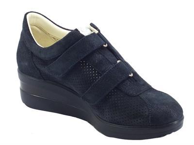 Articolo Melluso Walk R20145A Notte Nrc Sneakers confort per Donna nabuk blu scuro doppia chiusura strappo