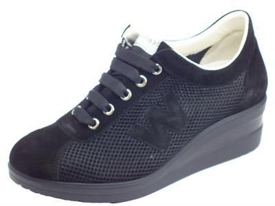 Articolo Melluso Walk R20146 Nero Nrc Sneakers Donna in tessuto forato con zeppa alta