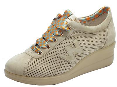 Articolo Melluso Walk R20148 Corda Sneakers Donna in nabuk traforato con zeppa intena