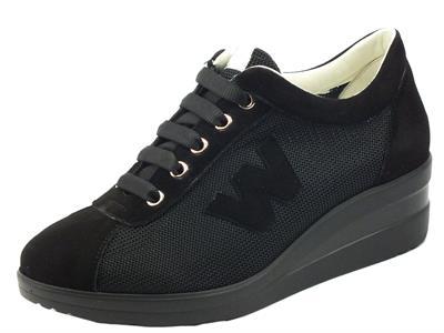 Articolo Melluso Walk R20158 Nero Nrc Sneakers confort per Donna in nabuk e tessuto zeppa interna