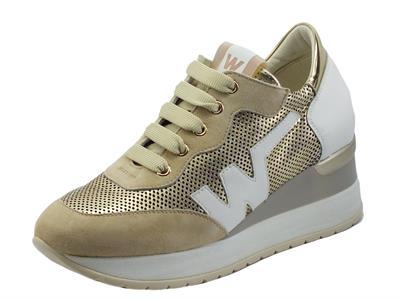 Articolo Melluso Walk R20432 Ecru MariKa P Sneakers confort per Donna nabuk pelle traforata zeppa interna