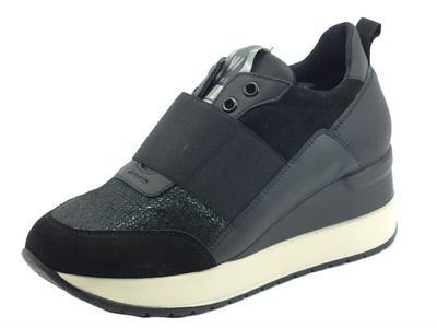 Melluso Walk R25535 Marika Nero Sneakers Donna in pelle e zeppa interna