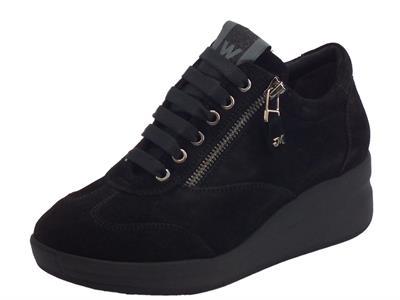 Articolo Melluso Walk R25610 Nero Silvy Sneakers Donna in camoscio nero zeppa alta