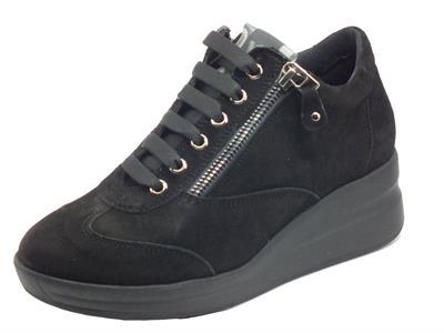Melluso Walk R25625 Nero Silvy Sneakers per Donna in nabuk con lampo