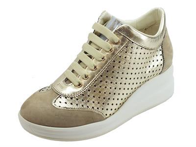 Articolo Melluso Walk Silvy corda sneakers zeppa alta in pelle traforata oro