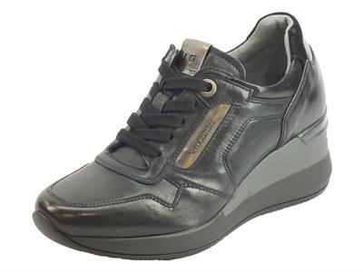 NeroGiardini A908861D Nappa Pandora Nero Sneakers Donna lacci e lampo in pelle zeppa alta