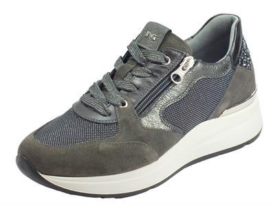 Articolo NeroGiardini A908890D Velour Cemento Violet Nero Sneakers Donna camoscio pelle cemento argento