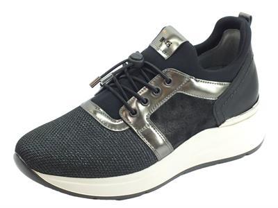 Articolo NeroGiardini A908892D Castadiva Brill Net Nero Sneakers Donna tessuto e pelle nero