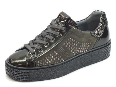 Articolo NeroGiardini A908960D Naplak Grafite Velour Cemento Comix Winter Inox NE sneakers donna zeppa