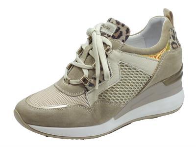 Articolo NeroGiardini E010462D Velour Ivory Beige Milk Sneakers Donna nabuk, pelle tessuto beige lacci