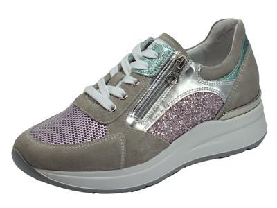 Articolo NeroGiardini E010500D Velour Nuvola Rosa Lilla Sneakers Donna in camoscio grigio glitter e tessuto