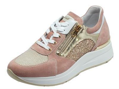 NeroGiardini E010500D Velour Peonia Rosa Antico Sneakers Donna in camoscio rosa glitter tessuto