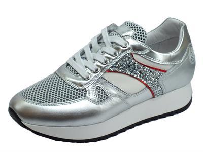 Articolo NeroGiardini E010522D Oxigen Argento Specchio Sneakers Donna in pelle e tessuto