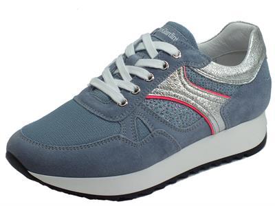 Articolo NeroGiardini E010523D Velour Stella Celeste Sneakers Donna in nabuk con lacci