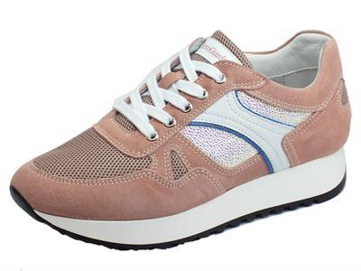 Articolo NeroGiardini E010524D Velour Peonia Phard Crema Sneakers Donna in nabuk con lacci
