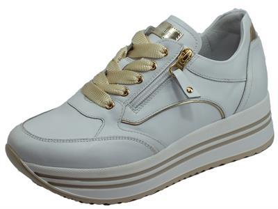 Articolo NeroGiardini E010560D Skipper Bianco Platino Sneakers Donna in pelle con lacci e lampo