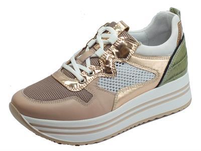 Articolo NeroGiardini E010567D Velvet Carne Specchio Phard Sneakers Donna in pelle e tessuto zeppa alta