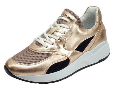 NeroGiardini E010610D Laminato Phard Specchio Sneakers Donna in pelle lacci lampo zeppa media