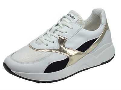 Articolo NeroGiardini E010610D Skipper Bianco Sneakers Donna in pelle con lacci e lampo zeppa media