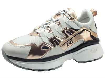 NeroGiardini E010808D Musk Bianco Specchio Phard Sneakers Donna in nabuk e tessuto bianco