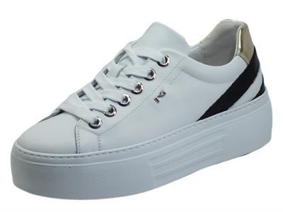 Articolo NeroGiardini E010880D Skipper Bianco Sneakers sportive per Donna in pelle con zeppa media