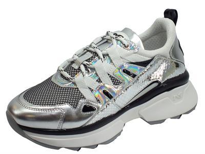 Articolo NeroGiardini E010979D Specchio Mirror Vipera Grigio Sneakers Donna in pelle argento