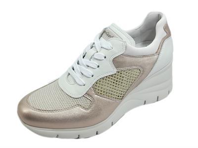 Articolo NeroGiardini E115132D Etoile Saturn Castadiva Oro Sneakers per Donna con zeppa in pelle e tessuto
