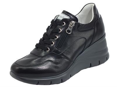 Articolo NeroGiardini E115135D Nappa Pandora Nero  Sneakers per Donna pelle zeppa alta lacci e lampo