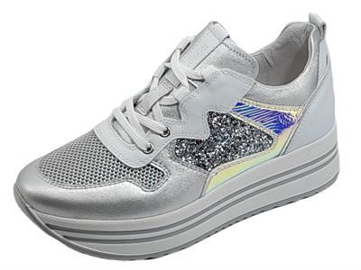 Articolo NeroGiardini E115192D Etoile Argento Lybra Met Sneakers per Donna zeppa pelle glitter cangiante