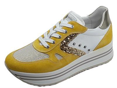NeroGiardini E115194D Velour Sole Oro Glitter Sneakers Donna zeppa alta nabuk giallo tessuto