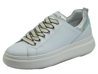 Articolo NeroGiardini E115262D Skipper Bianco Sneakers sportive per Donna in pelle con zeppa media