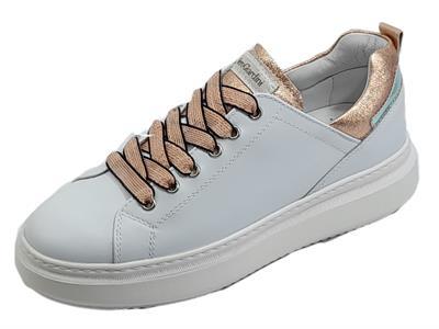 Articolo NeroGiardini E115263D Skipper Bianco Rock Phard Sneakers sportive Donna zeppa bassa in pelle