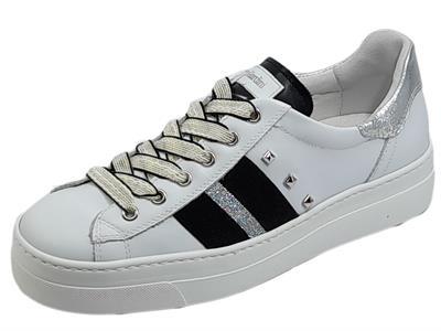 Articolo NeroGiardini E115280D Skipper Bianco Rock Argento Sneakers sportive Donna zeppa bassa in pelle